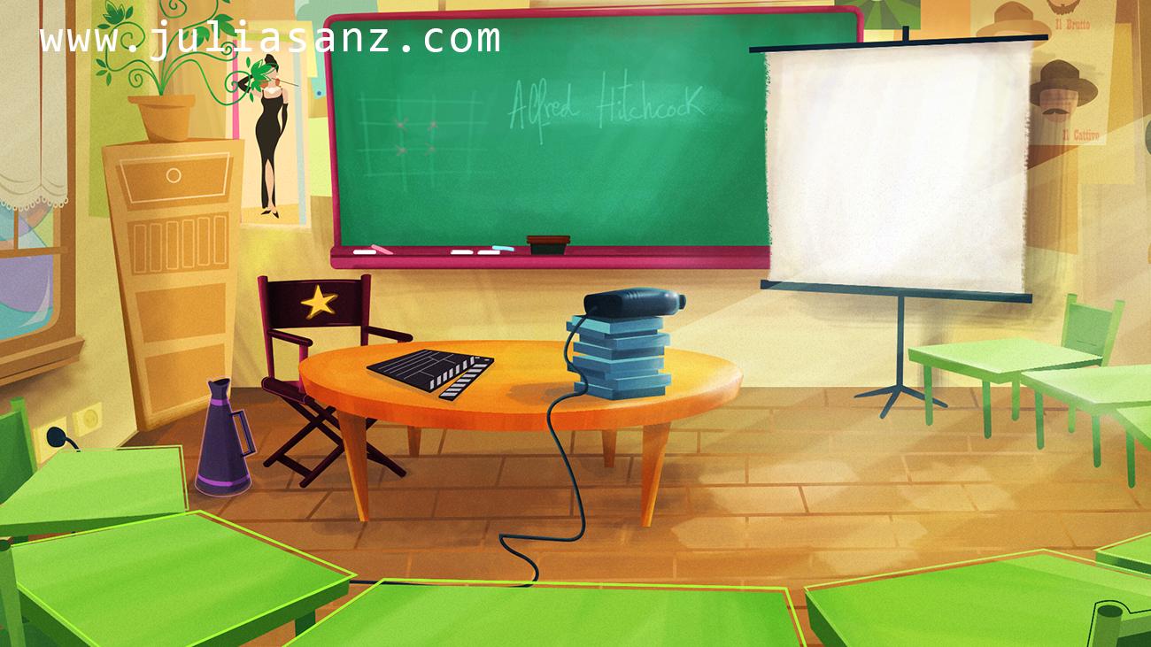 Classroom Wallpaper Design ~ Background design cinema classroom julia sanz illustration