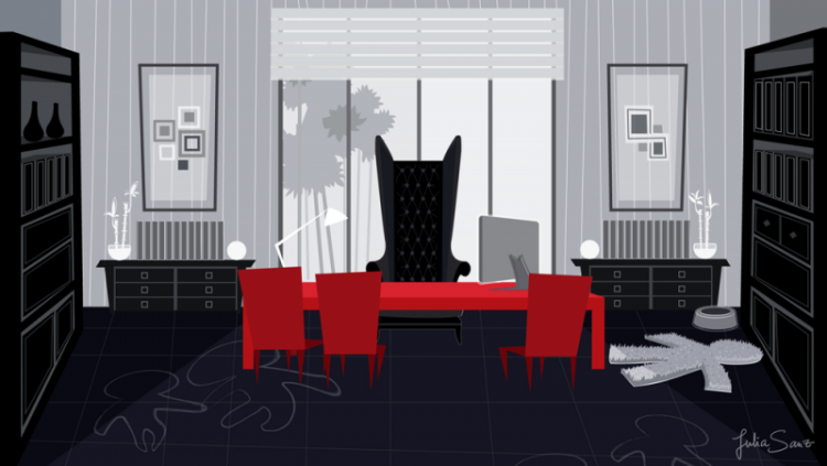 Background design of the principal's office in a school
