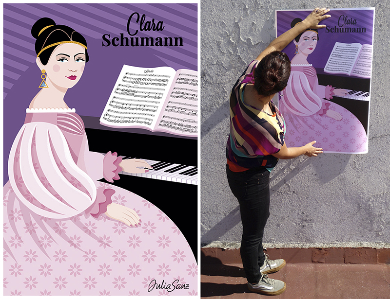 Clara Schumann sitting in front of the piano. Girl showing a poster about a female pianist