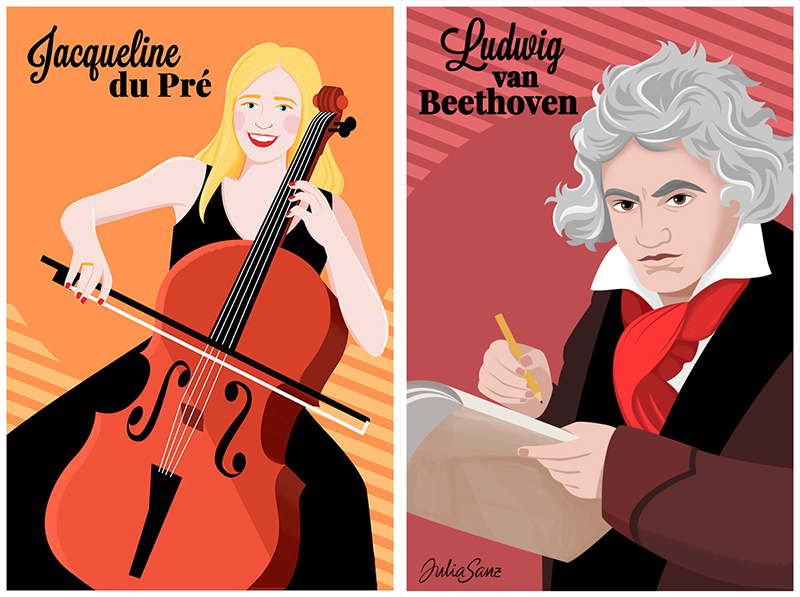 Jacqueline Du Pré playing the cello and Beethoven writing some scores.