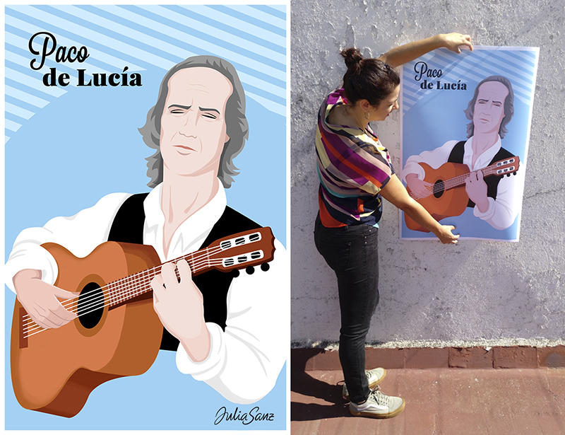 Paco de Lucía playing the guitar and a girl showing a poster about a male guitarist.