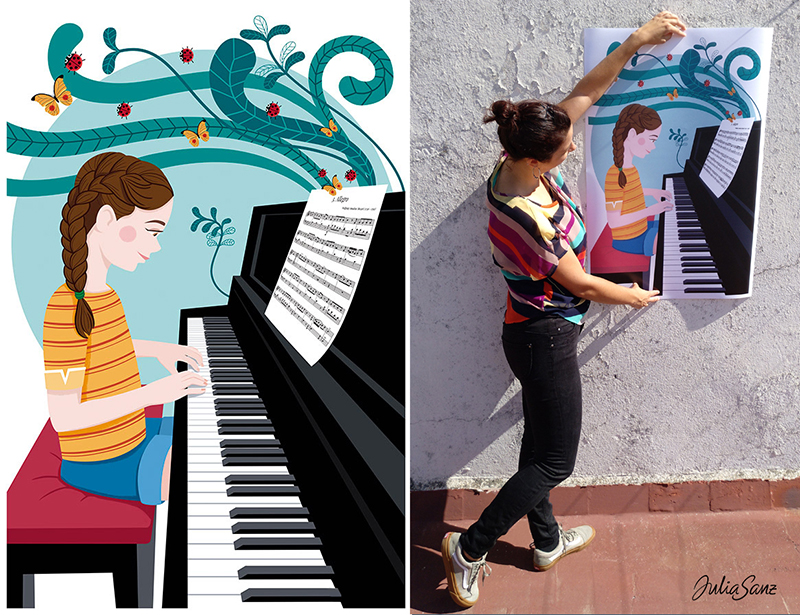A girl playing the piano and a girl showing a poster about a girl learning to play the piano. Butterflies and ladybugs come out of the piano.