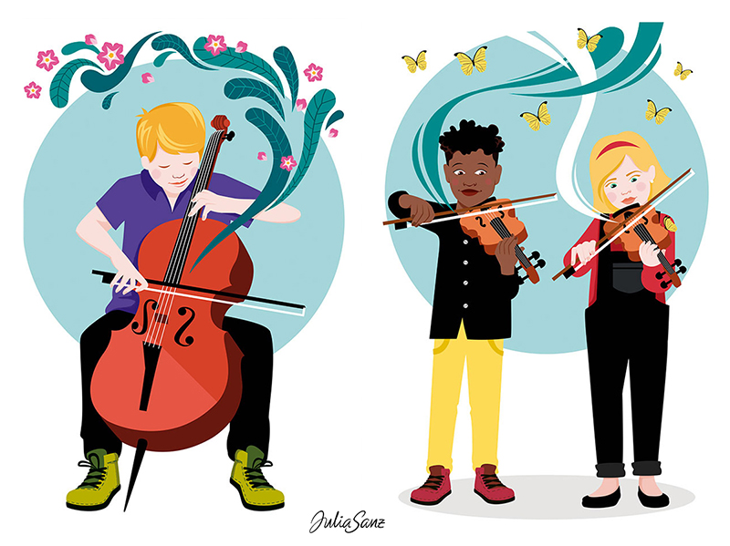 A boy playing the cello. A girl and a boy playing the violin. Butterflies and flowers come out when the music plays.