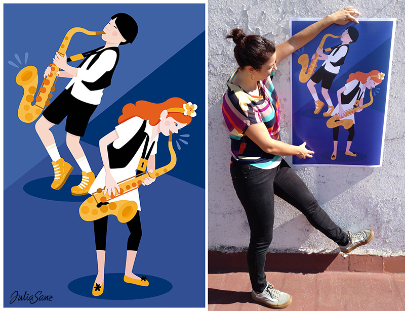 A boy and a girl playing the saxophone A woman showing a poster about a boy and a girl playing the saxophone.