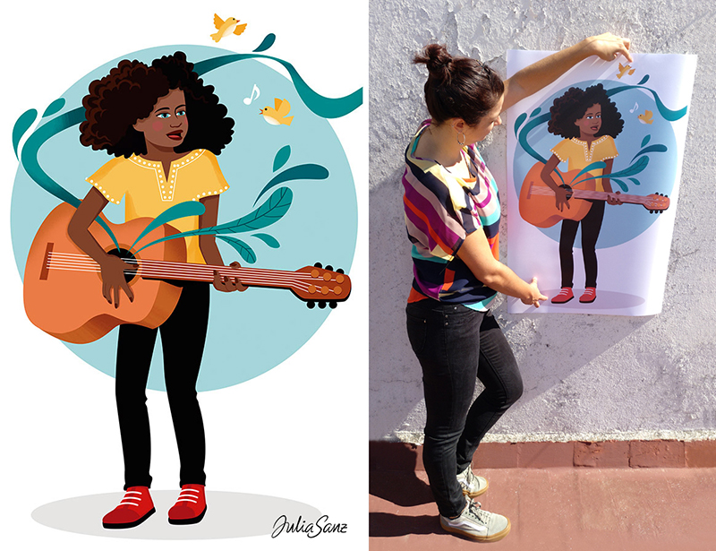 A girl with curly hair playing the guitar. A woman showing a poster of a girl guitarist.
