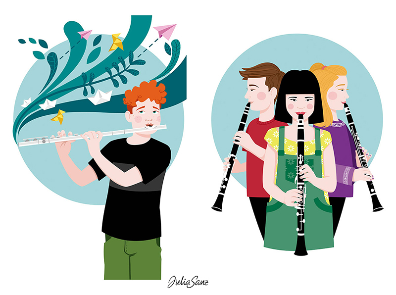 A boy playing the flute. Two girls and a boy playing the clarinet.