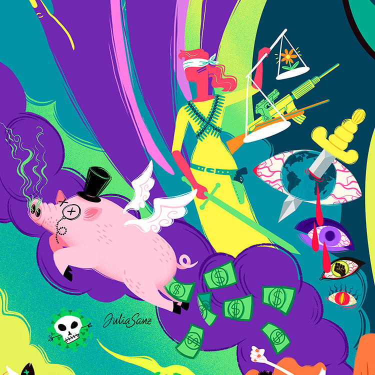 Psychedelic illustration about corrupt justice and capitalism
