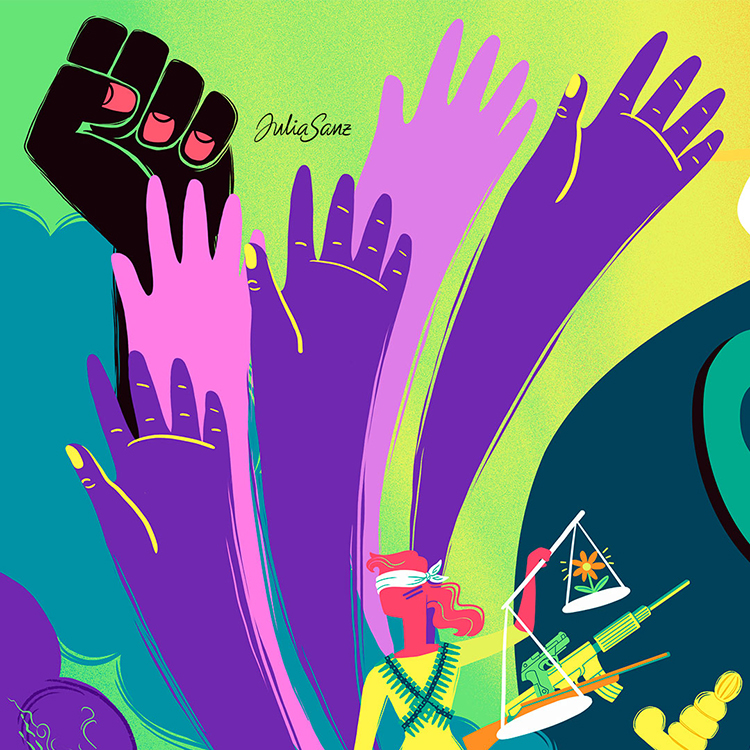 Psychedelic illustration about the me too movement and feminism. Open and raised purple hands