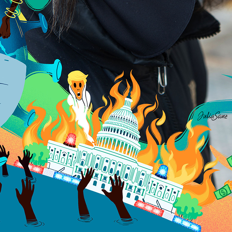 The Capitol in Washington D.C. burning and Donald Trump characterized as Munch's scream coming out of the fire. Attack on the capitol in USA